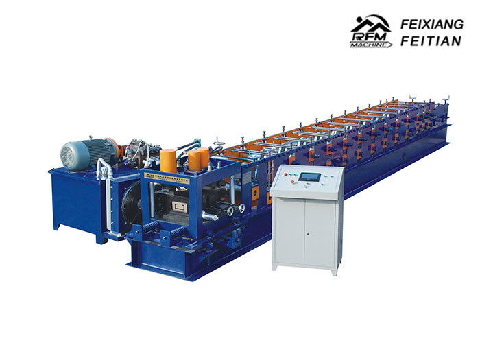 Blue C Section Roll Forming Machine , Cold Roll Forming Machine With Hydraulic Cutting